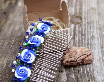 Something blue gifts for her Hair roses Hair combs Flower combs Evening accessories Blue wedding Flowers in hair Blue roses Wedding flowers