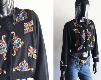 Vintage 80s Black Lambswool  Sequined Cardigan Sweater Size Medium