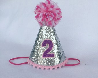 Silver Glitter Mini Birthday Hat, Girls First Birthday Hat, Cake Smash Hat, Glitter Birthday Hat, Silver and Pink Birthday Hat with Pom Pom