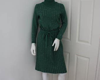 Vintage turtleneck sweater dress, circa 60's green high neck dress, knitted dress, 1960's polo neck jumper dress, turtle neck dress