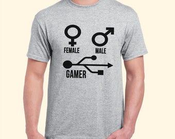 Female Symbol Male Symbol And Gamer Symbol USB Gamer Inspired. Male and Female T-shirt