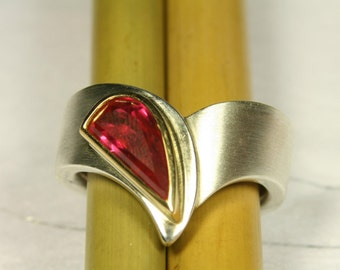 Ring Silver 925 / - with red, synthetic spinel