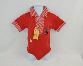 """1960's Red V-Neck POLO Style  Boys Shirt w/ """"Poncho"""" Bottom Size 6 by Springfoot Cotton NEW Old Stock"""