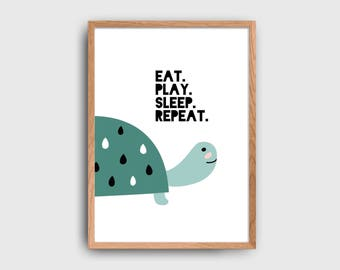 Eat Play Sleep Repeat Turtle Children's Wall Art Printable: INSTANT DOWNLOAD