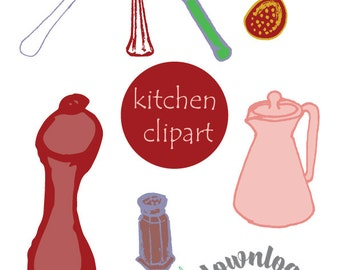 Kitchen utencil clipart, cooking clip art, Italian cooking, Instant download