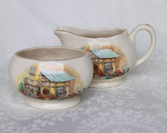 Sandland Ware Lancaster Creamer and Sugar Bowl, Vintage English Hanley Creamer Jug and Open Sugar, English Tea Set