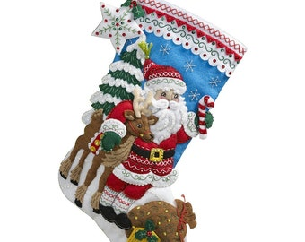 "Bucilla Nordic Santa 18"" Christmas Stocking Felt Applique Kit, 86647"