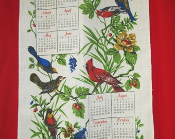 Vintage 1977 Bird Calendar Linen Tea Towel, Birds & Floral Kitchen Dish Towel with Cardinal, Blue Jay, Excellent Condition: Birthday Gift!