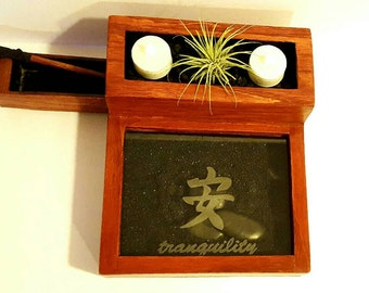 Oak Zen Garden Kit, Zen Garden, Feng Shui Zen Garden, Rock Garden, Desktop Zen Garden, Mini Garden, Japanese Rock Garden