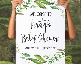 printable baby shower welcome sign printable shower sign greenery sign baby shower sign reception sign diy shower bridal shower sign welcome