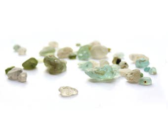 CRYSTALLINE BONFIRE SEAGLASS unique collection of rare beach melt, fire glass, campfire nuggets Reverse gemstones teal olive cabochons craft