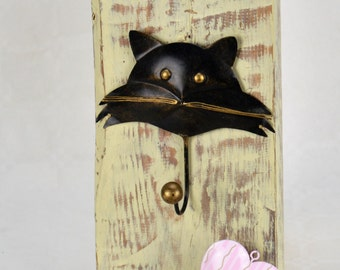 Shabby Chic - Cat - Kitty - Wall Plaque - Key - Jewellery - Hair Accessory Holder