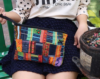 Vintage Clutch Patchwork Pattern With Hill Tribe Fabric