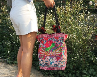 Hill Tribe Shoulder Bag Pom Poms Strap With Embroidered Fabric