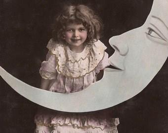 The Moon Princess… 1908 Original Antique Hand Tinted French Photo Postcard… Edwardian Children Fantasy Little Girl Magical Night Cosmic Fun