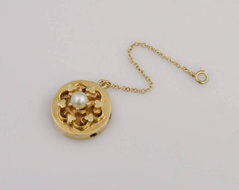 14k Yellow Gold Estate Open Work Flower Design Slide With Pearl And 14k Safety Chain