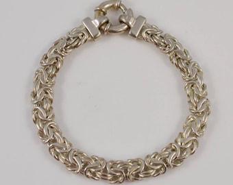 Sterling Silver 925 Byzantine Bracelet 7 3/4 Long(01079)