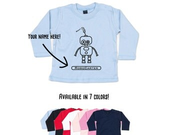 Baby robot shirt, Baby shirt, customizable shirt, robot longsleeve shirt, name shirt, personalized robot shirt, baby robot tee, fantasy tee