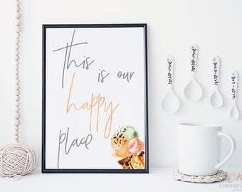 "Kitchen Print - Ice Cream Print - Watercolor ""This is Our Happy Place"" Printable - Instant Download - Ice Cream Housewarming Gift"