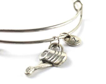 WATERING CAN bangle, silver watering can bracelet, gardener charm, initial bracelet, adjustable bangle, personalized jewelry, birthstone