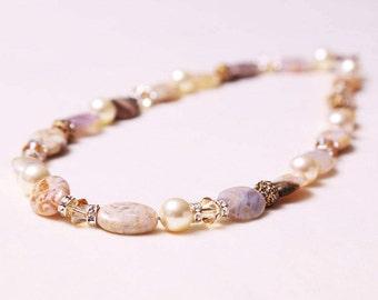 The Elizabeth Handmade Bamboo Agate Natural Polished Gemstone & Swarovski Crystal Necklace