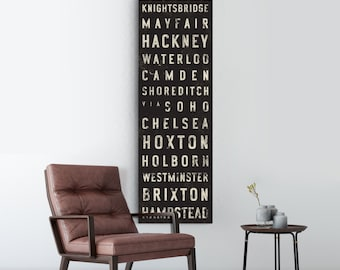LONDON Bus Scroll, Subway Sign, Vintage Tram Roll, Canvas