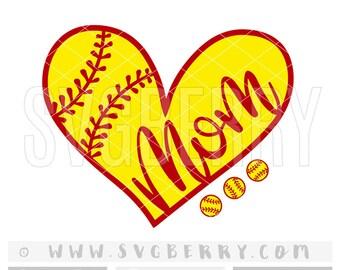 Softball Mom SVG / softball svg / softball shirts / softball mom shirts / softball gifts / love softball bag softball heart cut files / Bg