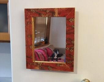 Red Floral Locker Mirror