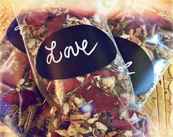 Love Blend, Love Herbs, Spell, Passion, Bath, Encens, Witchcraft, Pagan, Wicca, Magic