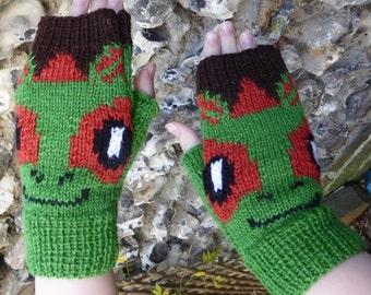Dragon fingerless gloves, green handwarmers, wristwarmers