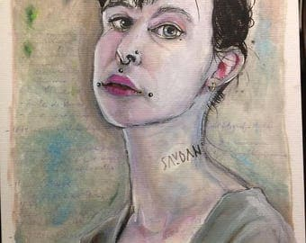 Girl with Tattoo .- Watercolour, pencil.