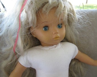 ship free Vintage  16 inches  Baby Doll  Vinyl/cloth Body Blue Eyes free shipping  in u s a for doll collector