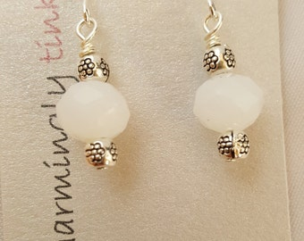 "Shiny white glass & ""silver"" short dangle fish hook earrings (E16-021)"