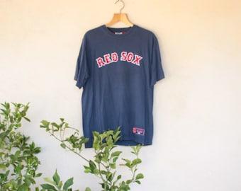 Retro Navy Blue Lee Sport Red Sox Baseball T-Shirt - Size Large