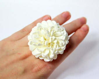 ivory ring gift bridesmaid ring/for/women birthday white daisy jewelry gift flower girl ring ivory wedding jewelry/for/girls flower ring A1