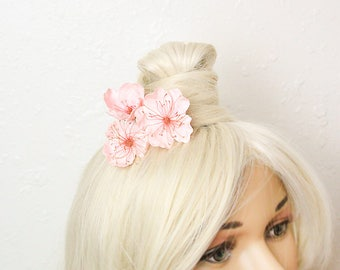 spring wedding pink hair pins bridal hair accessory cherry jewelry pink flower girl hair piece hair pins rustic wedding accessory gifts FJ6