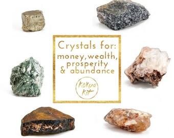 Set of 6 large crystals: Prosperity & abundance - blue aventurine, apophyllite garden, citrine, tiger eye, tree agate, pyrite