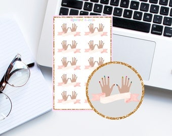 MULTICOLOR Glitter Manicure Banner - Manicure Appointment, Nail Polish, Glitter Nails Planner Stickers