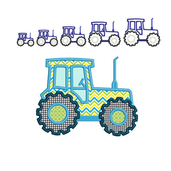 Tractor machine embroidery applique design