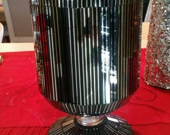 Mod Black and Silver Mirrored Vase
