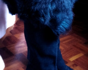 ON SALE - Vintage High Knee Suede Faux Fur Boots