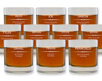 Groomsmen Scotch Glasses - Personalized Whiskey Glasses Wedding Favors - Engraved Groomsmen Glasses - Groomsmen Gifts - Set of 10 - GW957