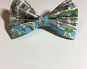 New York City Map Dog Bow Tie