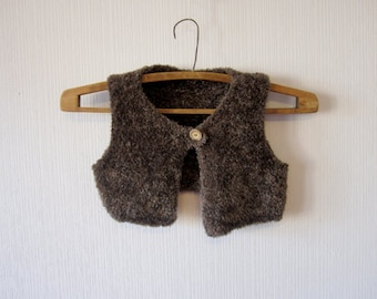 Brown Soft Finny Girl Waistcoat Cropped Children Teddy Bear Kid Vest 169