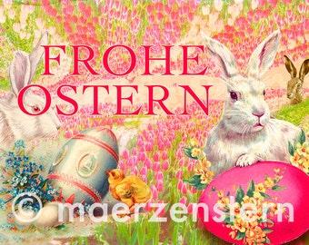 "Postcard ""in the Tulip field rabbit Hausen"" (22) Easter, Easter greetings, Easter Bunny, tulips, Easter eggs"