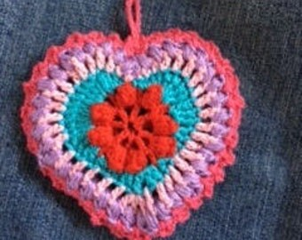 Colored crochet heart,