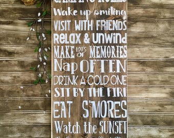 Camping Rules, rustic wood sign