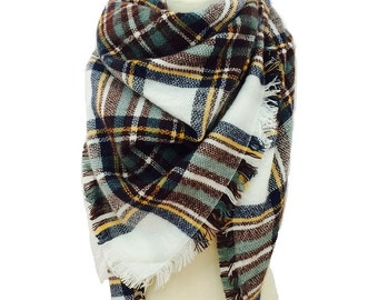 Plaid Blanket Scarf, Winter Scarf, Plaid Scarf, Blanket Scarf Plaid, Chunky Scarf, Scarves, Oversized Scarf, Plaid Blanket Scarf Wool