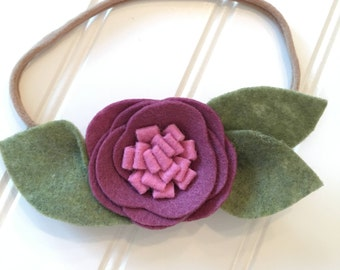 Felt flower headband/ handmade felt flower headband/ felt flower/ nylon headband