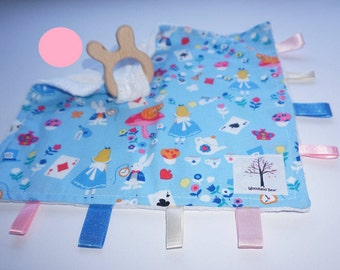Alice in Wonderland/White Rabbit sensory/taggy teething blanket with organic wooden rabbit teething ring